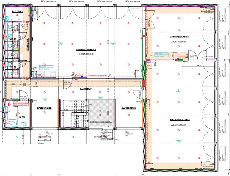 Grundriss eines Kindergartencontainers